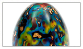Hen egg. Japanese lacquer and electroforming