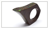 Wood and Japanese Lacquer Collection - Ring in oak and Japanese Lacquer